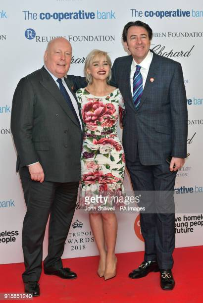 Julian Fellowes Emilia Clarke and Jonathan Ross arrive at the 2018 Centrepoint Awards at Kensington Palace in London