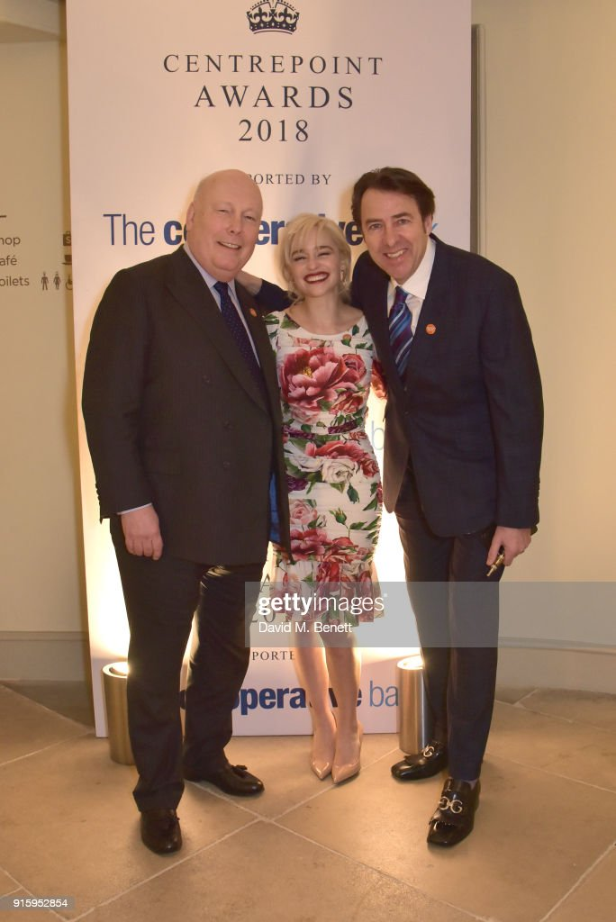 Julian Fellowes, Emilia Clarke and Jonathan Ross attend 'The Centrepoint Awards' to celebrate the courage shown by homeless young people supported by the charity at Kensington Palace on February 8, 2018 in London, England.