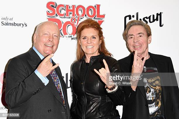 Julian Fellowes Sarah Ferguson Duchess of York and Andrew Lloyd Webber attend the opening night of 'School Of Rock The Musical' at the New London...