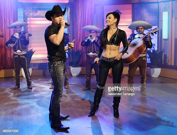 Julian Figueroa and his mother Maribel Guardia are seen on the set of Despierta America at Univision Studios on August 28 2015 in Miami Florida