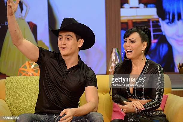 Julian Figueroa and his mother Maribel Guardia are seen on the set of Univisions 'Despierta America' at Univision Studios on August 28 2015 in Miami...