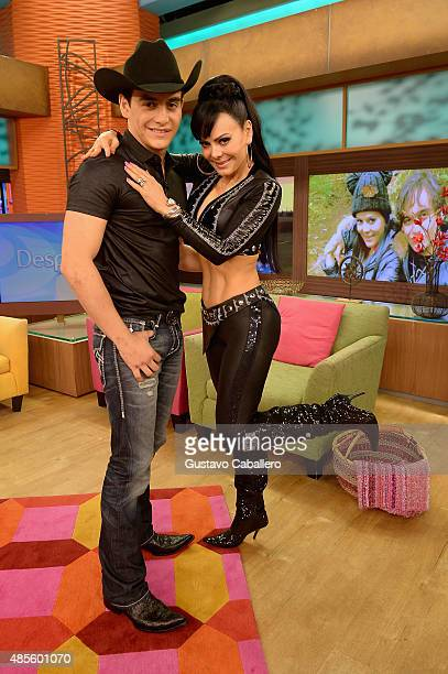 Julian Figueroa and his mother Maribel Guardia are seen on the set of Univisions Despierta America at Univision Studios on August 28 2015 in Miami...