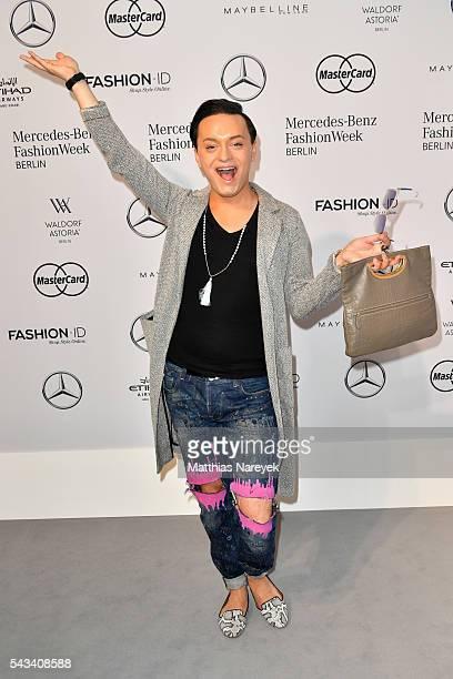 Julian FM Stoeckel attends the Thomas Hanisch show during the MercedesBenz Fashion Week Berlin Spring/Summer 2017 at Erika Hess Eisstadion on June 28...