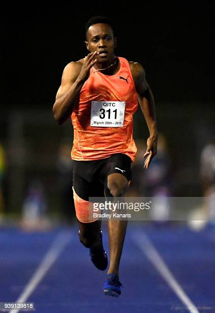Julian Forte of Jamaica competes in the Men's 100m event during the 2018 Queensland Track Classic at QSAC on March 28, 2018 in Brisbane, Australia.