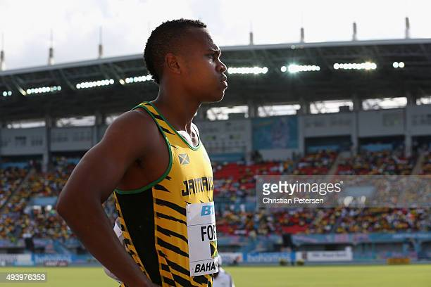 Julian Forte of Jamaica prepares to compete in the Men's 4x100 metres relay during day two of the IAAF World Relays at the Thomas Robinson Stadium on...
