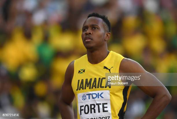 Julian Forte of Jamaice looks on following the mens 100m semi-finals during day two of the 16th IAAF World Athletics Championships London 2017 at The...