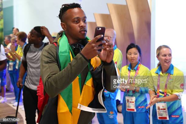 Julian Forte of the Jamaican 2018 Commonwealth Games team arrives at the Gold Coast Airport on March 20, 2018 in Gold Coast, Australia.