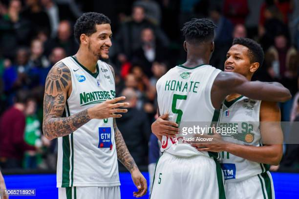 Julian Gamble Lahaou Konate and Dominic Waters of Nanterre celebrate victory during the Jeep Elite match between Nanterre 92 and Champagne Chalons...