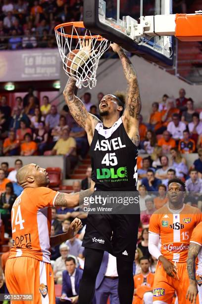 Julian Gamble of ASVEL during the Jeep Elite quarterfinal playoff match between Le Mans and Lyon Villeurbanne on May 22 2018 in Le Mans France