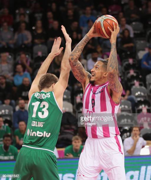 Julian Gamble of Bonn and Martynas Gecevicius of Zielona Gora battle for the ball during the Basketball Champions League match between Telekom...