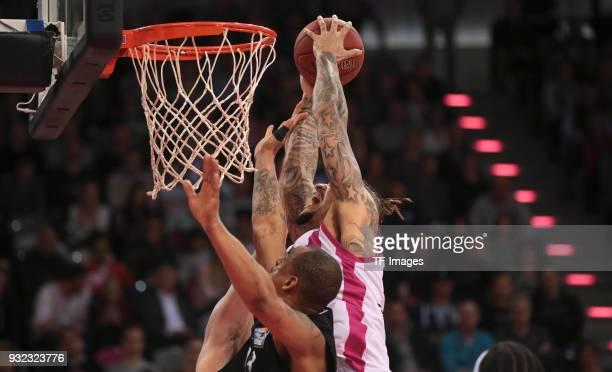 Julian Gamble of Bonn attemps a dunk during the Basketball Bundesliga match between Telekom Baskets Bonn and Science City Jena at Telekom Dome on...