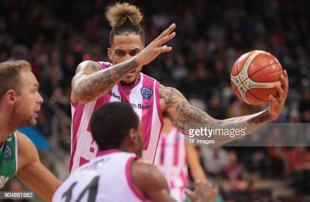 Julian Gamble of Bonn controls the ball during the Basketball Champions League match between Telekom Baskets Bonn and Stelmet Zielona Gora at Telekom...