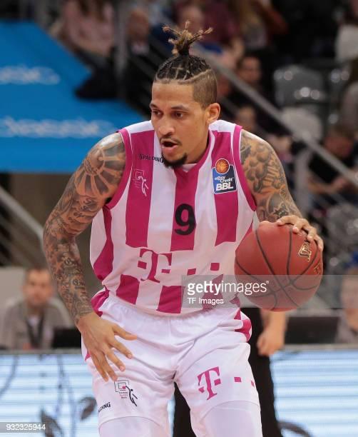 Julian Gamble of Bonn controls the ball during the Basketball Bundesliga match between Telekom Baskets Bonn and Science City Jena at Telekom Dome on...