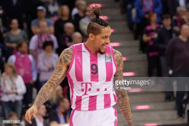 Julian Gamble of Bonn looks on during the Basketball Bundesliga match between Telekom Baskets Bonn and Fraport Skyliners at Telekom Dome on March 25...