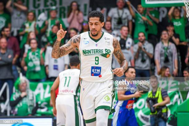 Julian Gamble of Nanterre celebrates during the Jeep Elite match between Nanterre 92 and Champagne Chalons Reims Basket at Palais des Sports Maurice...