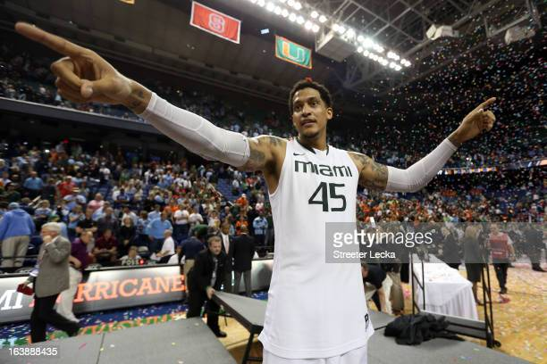 Julian Gamble of the Miami Hurricanes celebrates after they won 8777 against the North Carolina Tar Heels during the final of the Men's ACC...