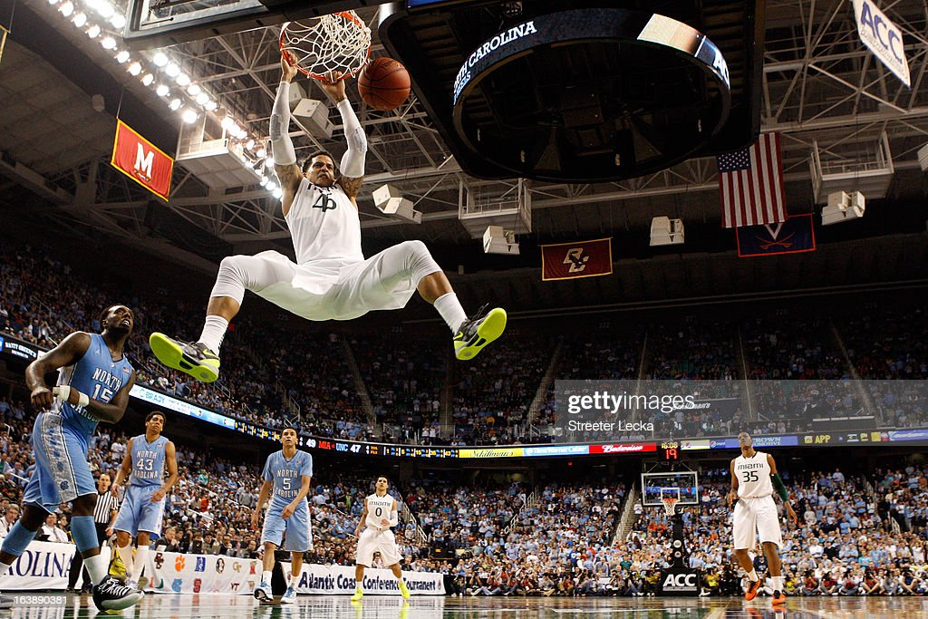 Julian Gamble #45 of the Miami (Fl) Hurricanes dunks in the second half against the North Carolina Tar Heels during the final of the Men's ACC Basketball Tournament at Greensboro Coliseum on March 17, 2013 in Greensboro, North Carolina.