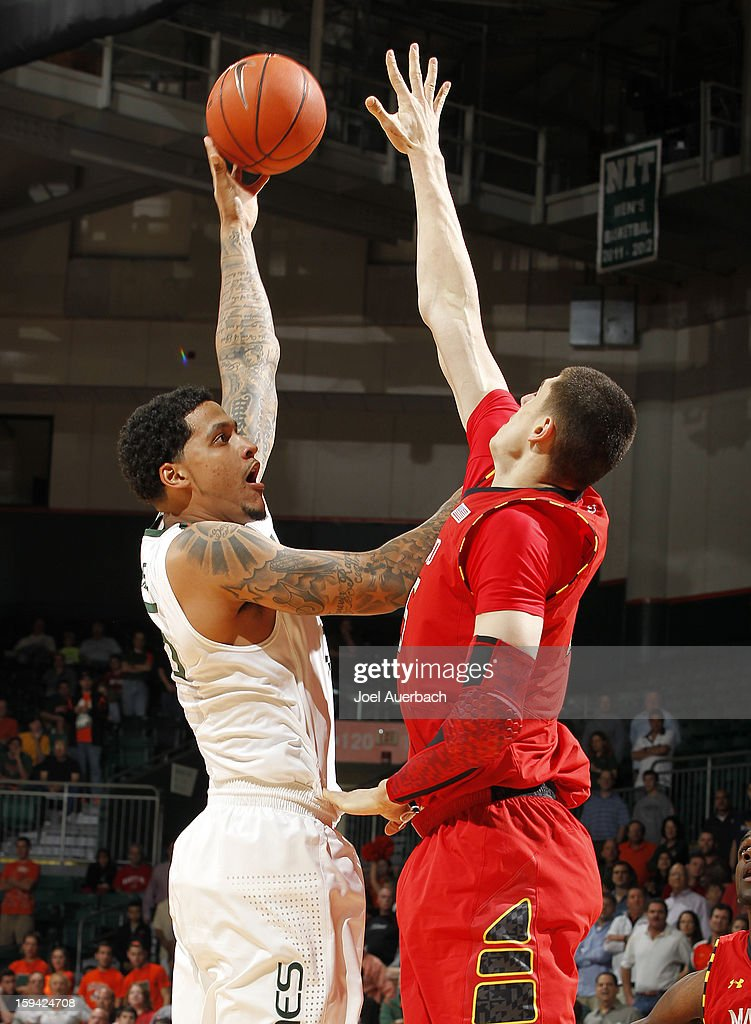 Julian Gamble #45 of the Miami Hurricanes goes to the basket against the Maryland Terrapins on January 13, 2013 at the BankUnited Center in Coral Gables, Florida.