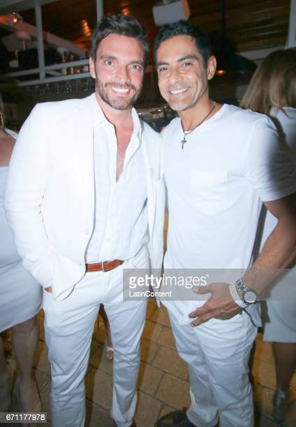 Julian Gil and Charlie Masso pose at River Yatch Club during the US launch of Carson Life on April 20 2017 in Miami Us