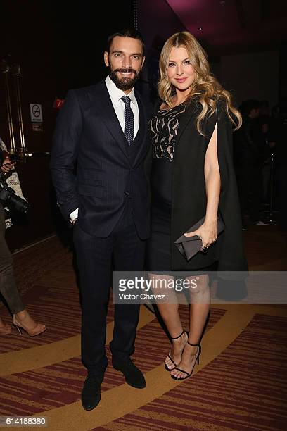 Julian Gil and Marjorie de Sousa attend the second day of MercedesBenz Fashion Week Mexico Spring/Summer 2017 at Maria Isabel Sheraton hotel on...