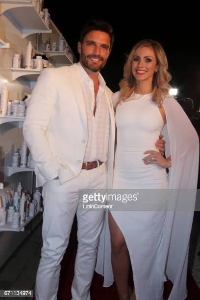 Julian Gil and Natalia Rivera pose at River Yatch Club during the US launch of Carson Life on April 20 2017 in Miami Us
