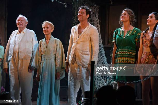 Julian Glover Lia Williams Clive Owen Anna Gunn and Emma Canning bow at the curtain call during the press night performance of The Night Of The...