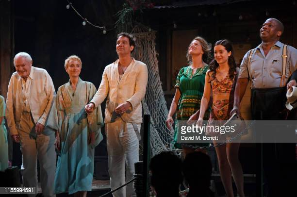Julian Glover Lia Williams Clive Owen Anna Gunn Emma Canning and Faz Singhateh bow at the curtain call during the press night performance of The...