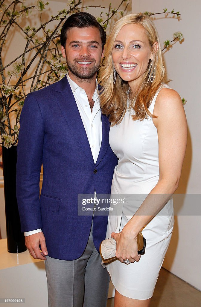 Julian Gratry and Jamie Tisch attend a cocktail reception hosted by Ferragamo to announce the inaugural opening gala for the Wallis Annenberg Center for the Performing Arts at Gagosian Gallery on May 3, 2013 in Beverly Hills, California.