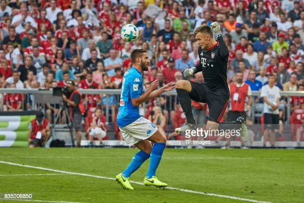 Julian Green of Bayern Muenchen and Nikola Maksimovic of Napoli battle for the ball during the Audi Cup 2017 match between SSC Napoli and FC Bayern...