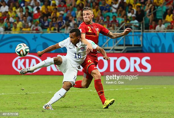 Julian Green of the United States scores his team's first goal in extra time against Toby Alderweireld of Belgium during the 2014 FIFA World Cup...
