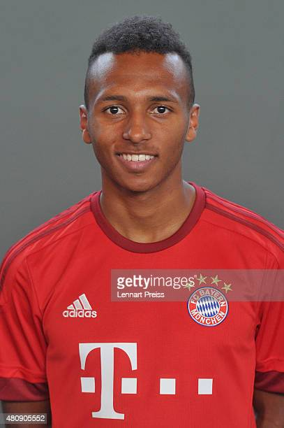 Julian Green poses during the team presentation of FC Bayern Muenchen at Bayern's training ground Saebener Strasse on July 16 2015 in Munich Germany