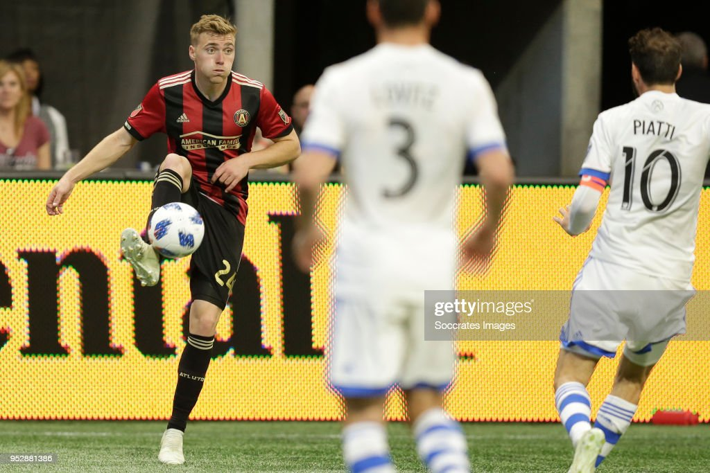Julian Gressel of Atlanta United during the match between Atlanta United FC v Montreal Impact at the Mercedes-Benz Stadium on April 28, 2018 in Atlanta United States