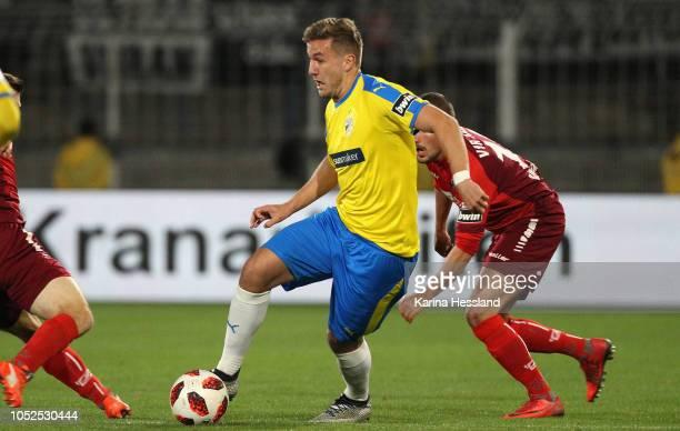 Julian GuentherSchmidt of Jena on the ball during the third Liga match between FC Carl Zeiss Jena and VfR Aalen at ErnstAbbeSportfeld on October 19...