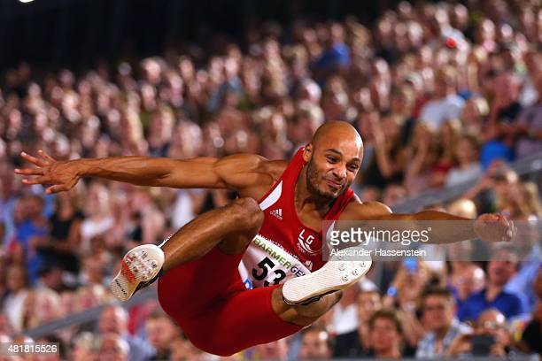 Julian Howard of LG Karlsruhe competes in the mens long jump finale at Hauptmarkt Nuremberg during day 1 of the German Championships in Athletics on...