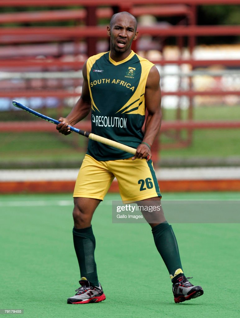 Julian Hykes of South Africa during the Five Nations Mens Hockey tournament match between South Africa and Germany held at the North West University hockey centre on January 23, 2008 in Potchefstroom, South Africa.
