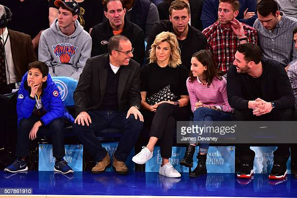 Julian Kal Seinfeld, Jerry Seinfeld, Jessica Seinfeld, Sascha Seinfeld and Matt Harvey attend the Golden State Warriors vs New York Knicks game at...