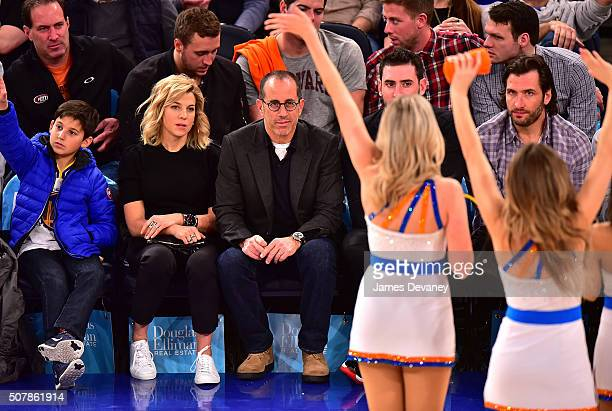 Julian Kal Seinfeld, Jessica Seinfeld and Jerry Seinfeld attend the Golden State Warriors vs New York Knicks game at Madison Square Garden on January...