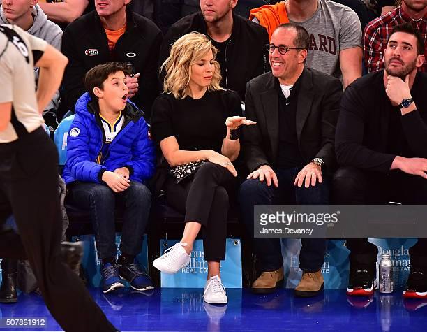 Julian Kal Seinfeld, Jessica Seinfeld, Jerry Seinfeld and Matt Harvey attend the Golden State Warriors vs New York Knicks game at Madison Square...