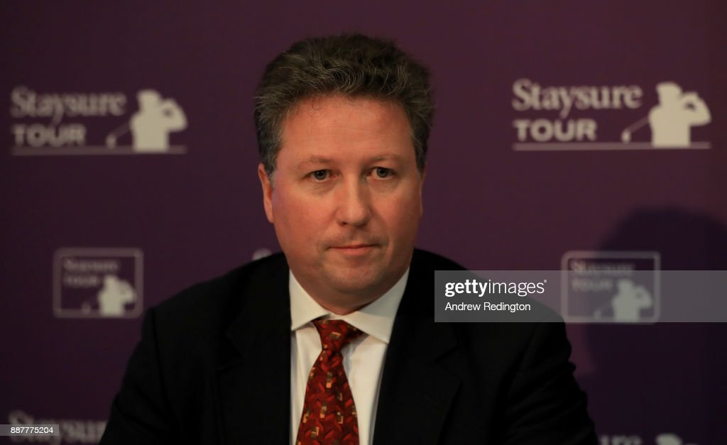 "Julian Kearney, CEO of Staysure, speaks a press conference to announce the European Senior Tour will now ne named the""Staysure Tour"" during the European Tour Hilton Golfer of the Year Lunch at the Waldorf Hilton hotel on December 7, 2017 in London, England."