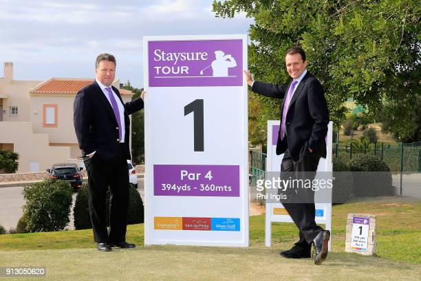 Julian Kearney CEO Staysure and David McLaren Head of Staysure Tour pose for a photograph on the 1st tee during Staysure Tour Qualifying School...