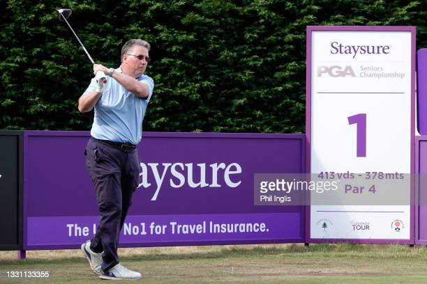 Julian Kearney, Managing Director Staysure in action during the ProAm ahead of the Staysure PGA Seniors Championship at Formby Golf Club on July 28,...