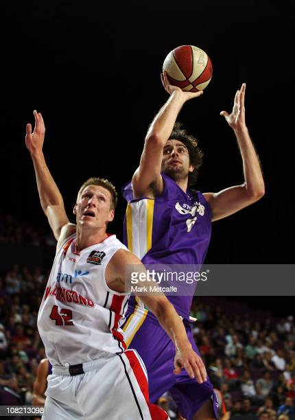 Julian Khazzouh of the Kings drives to the basket during the round 15 NBL match between the Sydney Kings and the Wollongong Hawks at Sydney...