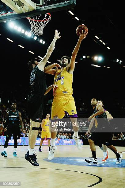 Julian Khazzouh of the Kings lays the ball up during the round 10 NBL match between the New Zealand Breakers and the Sydney Kings at Vector Arena on...