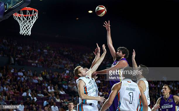 Julian Khazzouh of the Kings shoots for the basket during the round 19 NBL match between the Sydney Kings and the Gold Coast Blaze at Sydney...