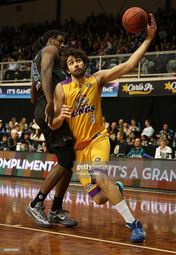 Julian Khazzouh of the Sydney Kings (R) gets a rebound defended by Charles Jackson of the Breakers (L) during the round three NBL match between the New Zealand Breakers and the Sydney Kings at North Shore Events Centre on October 21, 2015 in Auckland, New Zealand.