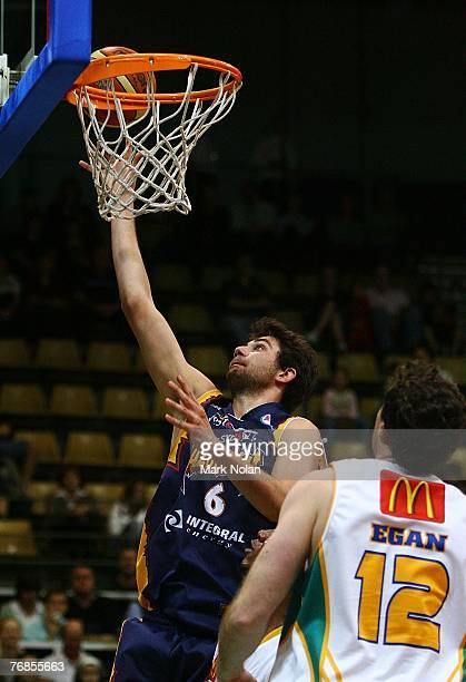 Julian Khazzouh scores for the Razorbacks during the round one NBL match between the West Sydney Razorbacks and the Townsville Crocodiles at the...