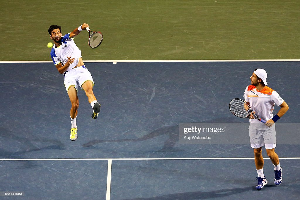 Julian Knowle of Austria and Jurgen Melzer of Austria in action during men's doubles semi final match against Jamie Murray of Great Britain and John Peers of Australia during day six of the Rakuten Open at Ariake Colosseum on October 5, 2013 in Tokyo, Japan.