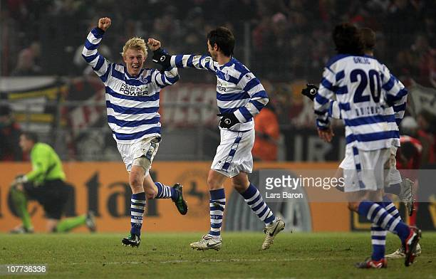 Julian Koch of Duisburg celebrates after scoring his teams second goal during the DFB Cup round of sixteen match between 1. FC Koeln and MSV Duisburg...