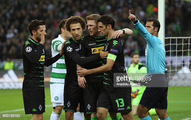 Julian Korb Fabian Johnson Andre Hahn and Lars Stindl of Moenchengladbach celebrate after scoring the 10 against Celtic Glasgow during the UEFA...