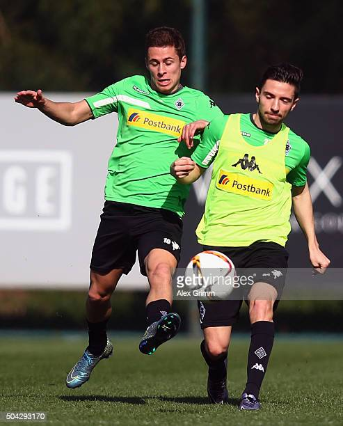 Julian Korb is challenged by Thorgan Hazard during a Borussia Moenchengladbach training session on day 5 of the Bundesliga Belek training camps at...